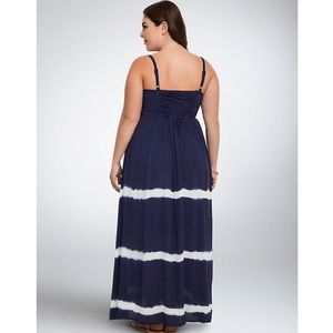 Torrid Navy White Gauze Maxi Dress
